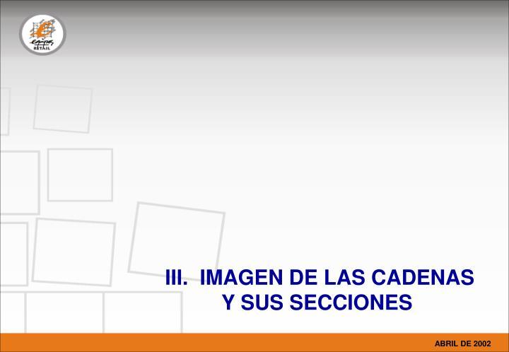 III.  IMAGEN DE LAS CADENAS