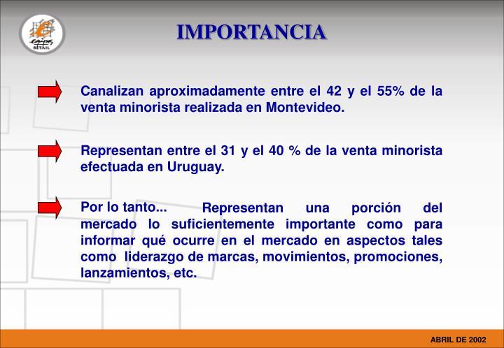 Canalizan aproximadamente entre el 42 y el 55% de la venta minorista realizada en Montevideo.