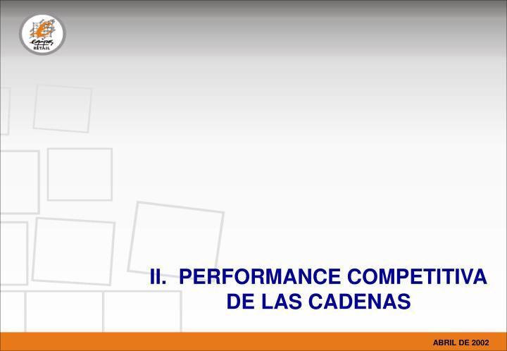 II.  PERFORMANCE COMPETITIVA