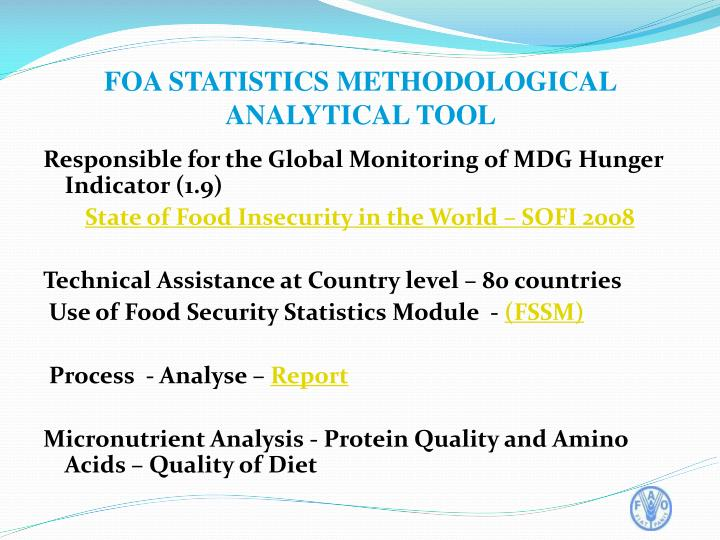 Responsible for the Global Monitoring of MDG Hunger Indicator (1.9)