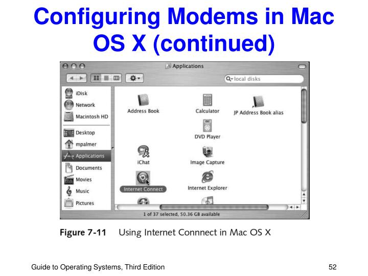 Configuring Modems in Mac OS X (continued)