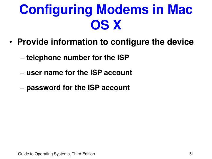 Configuring Modems in Mac OS X