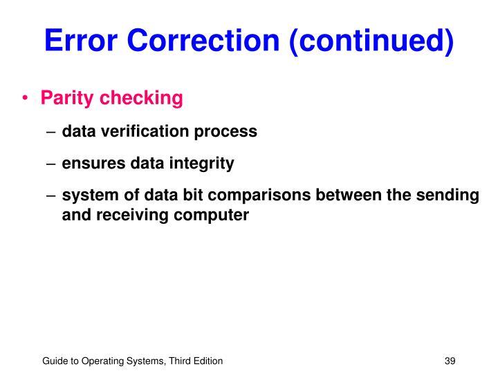 Error Correction (continued)