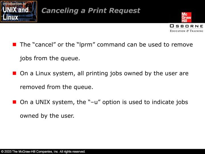 Canceling a Print Request