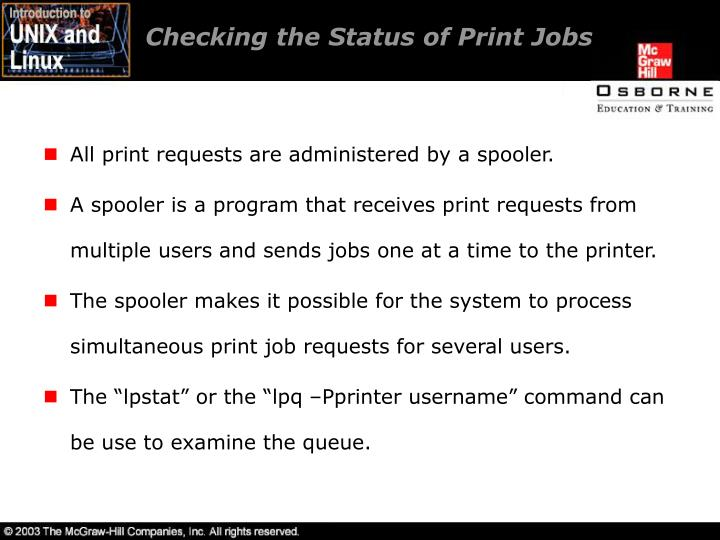Checking the Status of Print Jobs