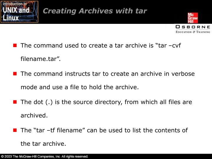 Creating Archives with tar