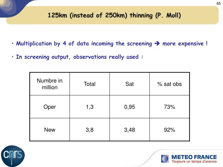 125km (instead of 250km) thinning (P. Moll)