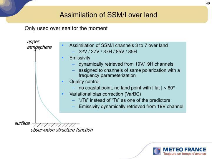 Assimilation of SSM/I over land
