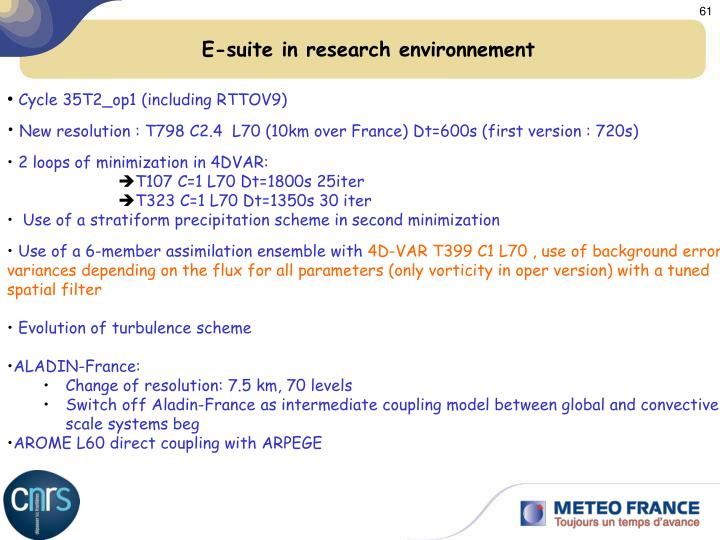 E-suite in research environnement