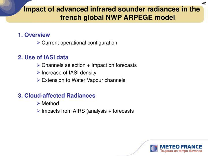 Impact of advanced infrared sounder radiances in the french global NWP ARPEGE model