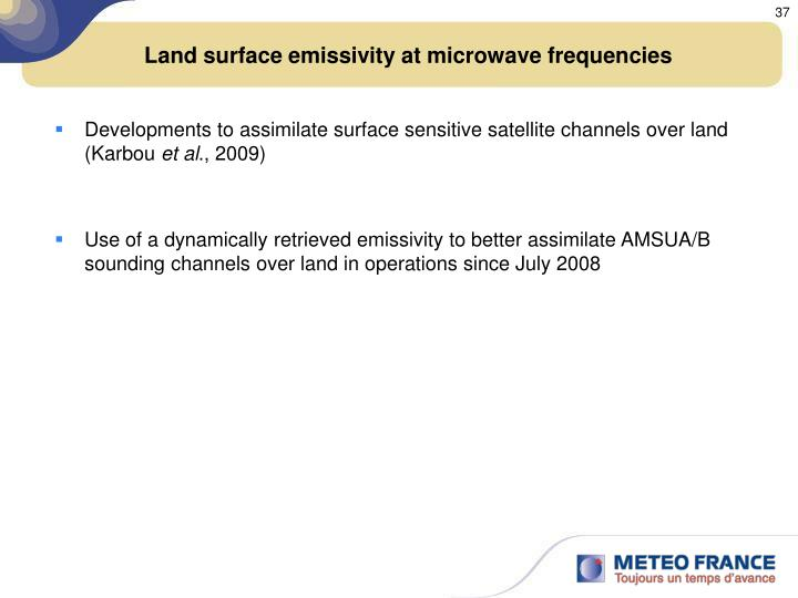 Land surface emissivity at microwave frequencies