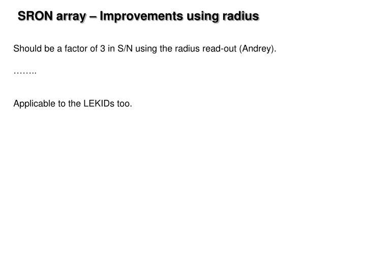 SRON array – Improvements using radius
