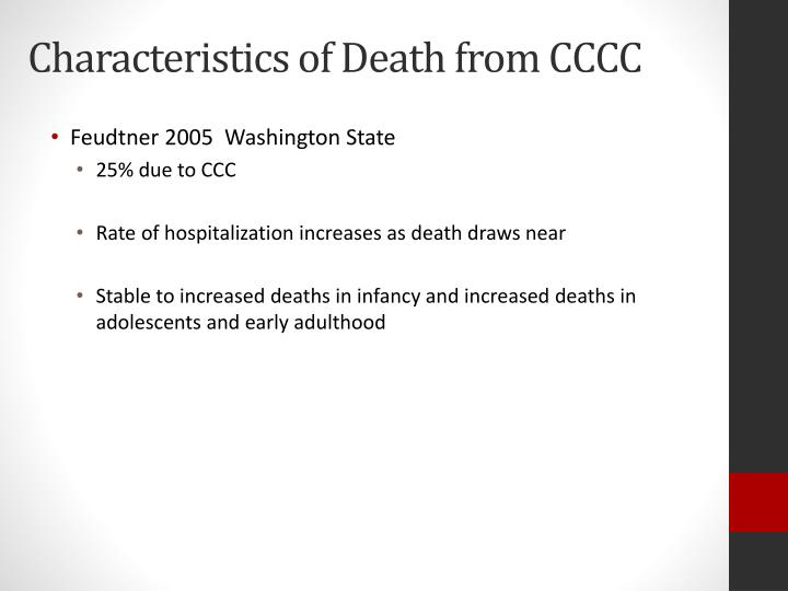 Characteristics of Death from CCCC