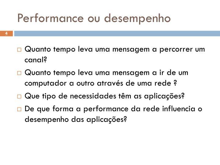 Performance ou desempenho