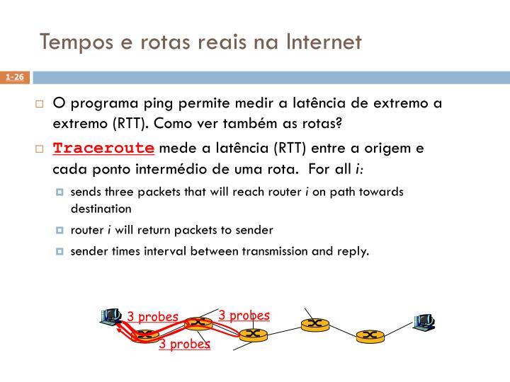 Tempos e rotas reais na Internet