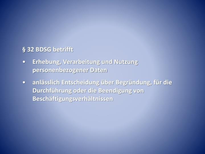 § 32 BDSG betrifft