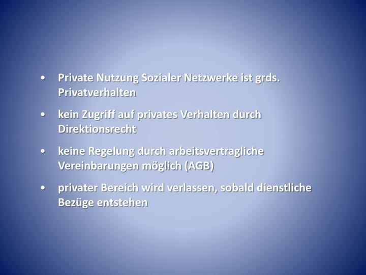 Private Nutzung Sozialer Netzwerke ist