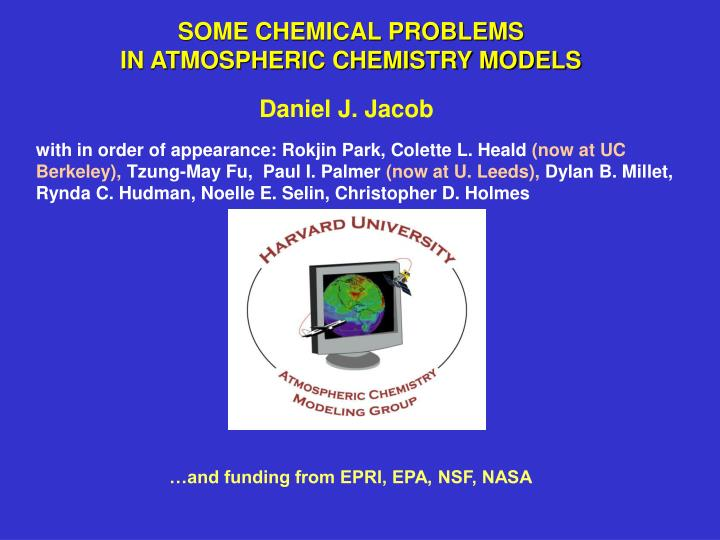 some chemical problems in atmospheric chemistry models