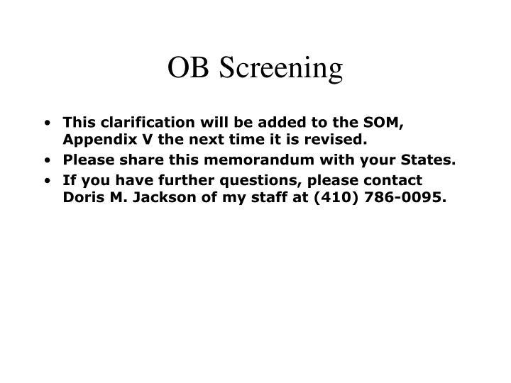 OB Screening