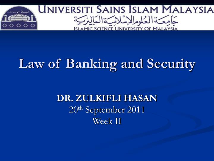 law of banking and security n.