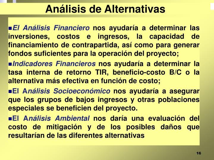 Análisis de Alternativas
