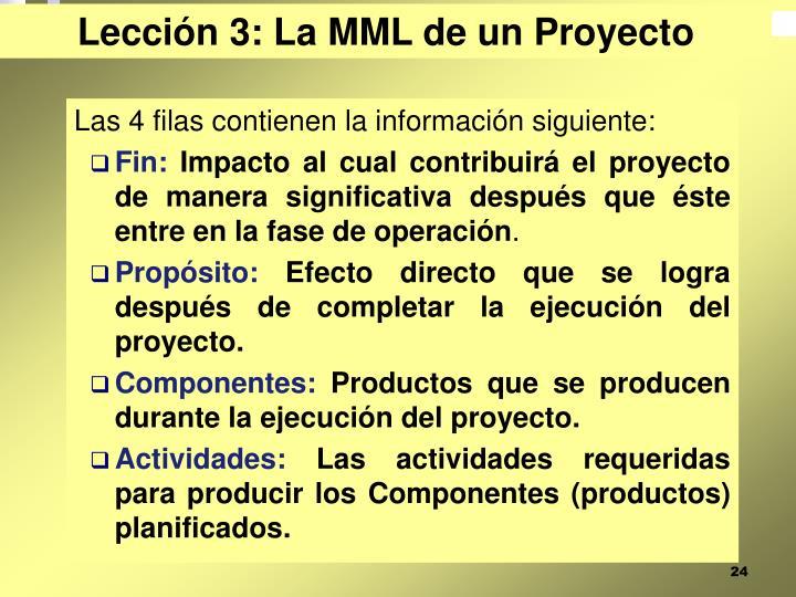 Lección 3: La MML de un Proyecto