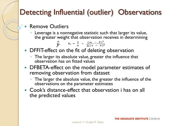 Detecting Influential (outlier)  Observations