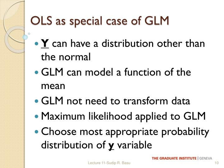 OLS as special case of GLM