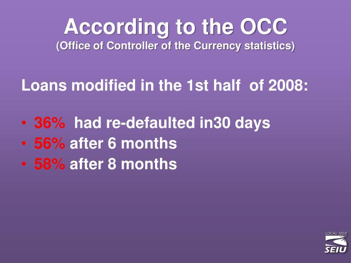 According to the OCC