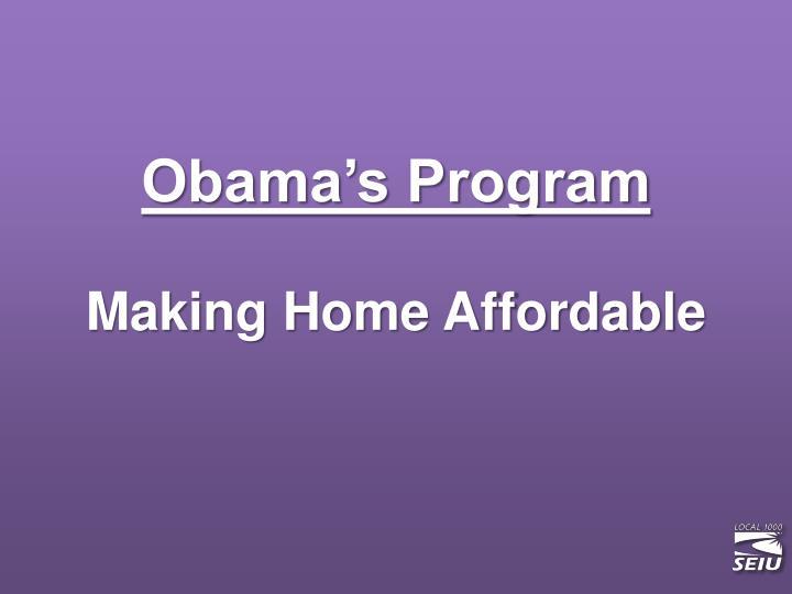 Obama's Program