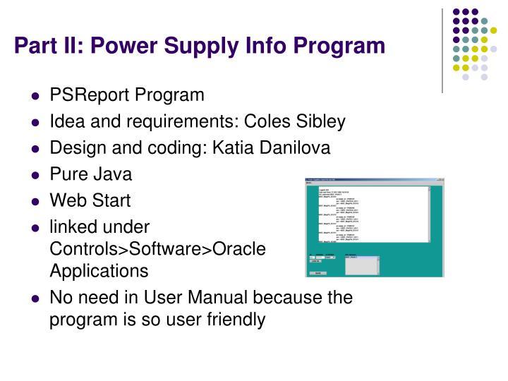 Part II: Power Supply Info Program