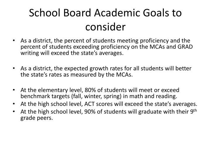 School Board Academic Goals to consider
