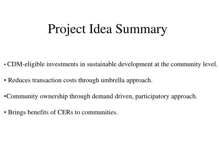 Project Idea Summary