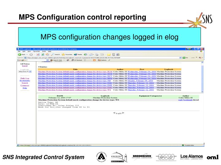 MPS Configuration control reporting
