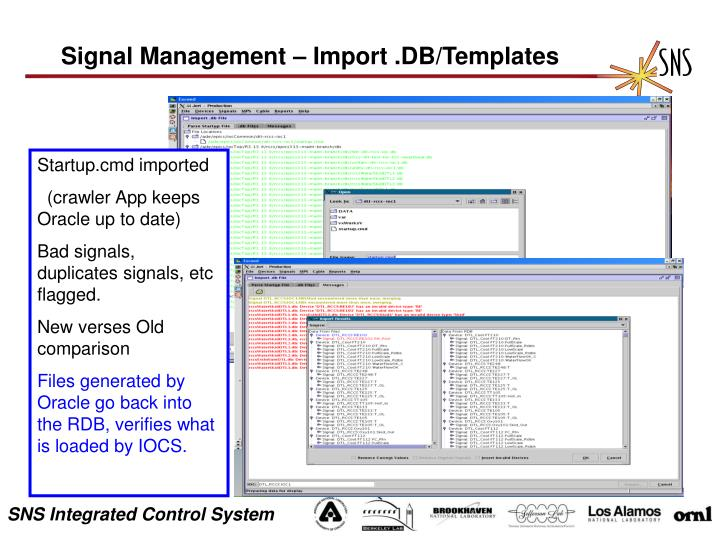 Signal Management – Import .DB/Templates