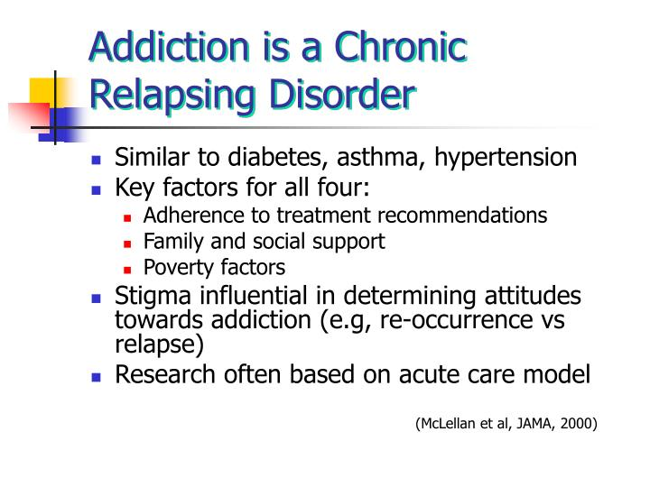 Addiction is a Chronic Relapsing Disorder
