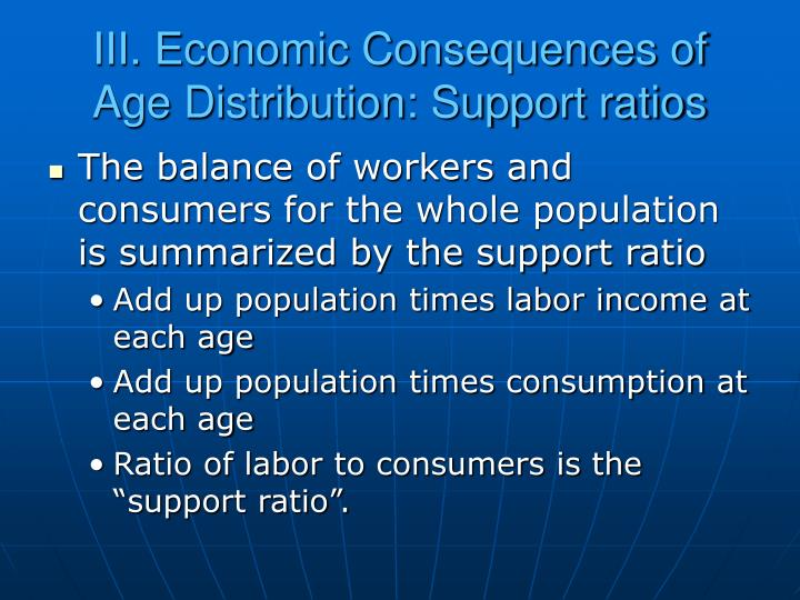 III. Economic Consequences of Age Distribution: Support ratios