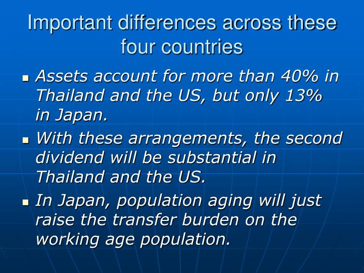 Important differences across these four countries