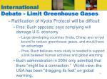 international debate limit greenhouse gases