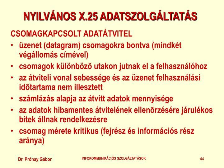 NYILVÁNOS X.25 ADATSZOLGÁLTATÁS