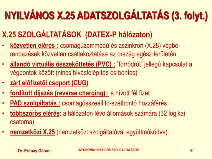 NYILVÁNOS X.25 ADATSZOLGÁLTATÁS (3. folyt.)