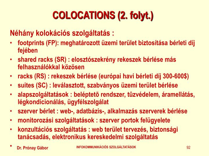 COLOCATIONS (2. folyt.)