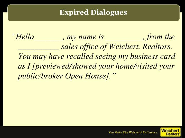 Expired Dialogues