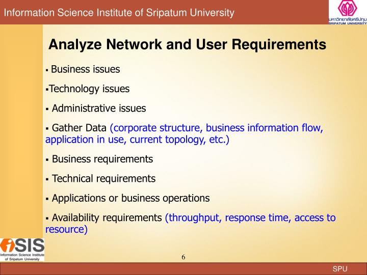 Analyze Network and User Requirements