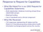 response to request for capabilities