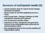 summary of anticipated results 2