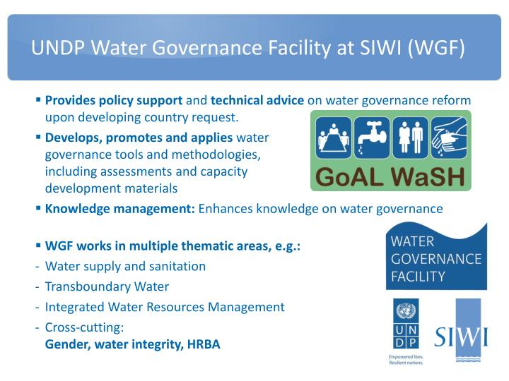 Undp water governance facility at siwi wgf