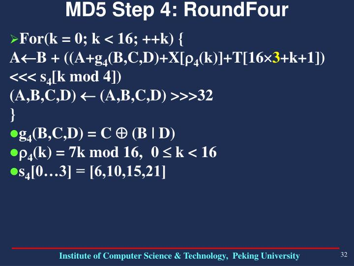MD5 Step 4: RoundFour