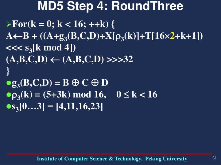 MD5 Step 4: RoundThree