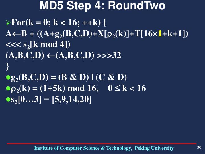 MD5 Step 4: RoundTwo